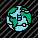 bitcoin, earth, globe, worldwide