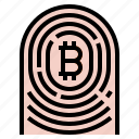 bitcoin, fingerprint, id icon