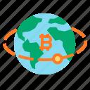 bitcoin, earth, globe, worldwide icon