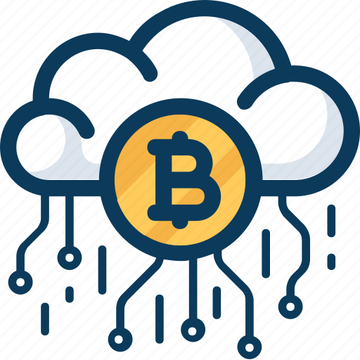 bitcoin, blockchain, cloud, cryptocurrency, currency, network, technology icon