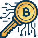 blockchain, cryptocurrency, currency, key, lock, safety icon