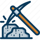 bitcoin, blockchain, mine, mining, pickaxe, stone icon