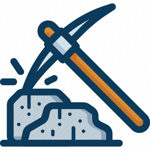 bitcoin, blockchain, mine, mining, pickaxe, stone icon