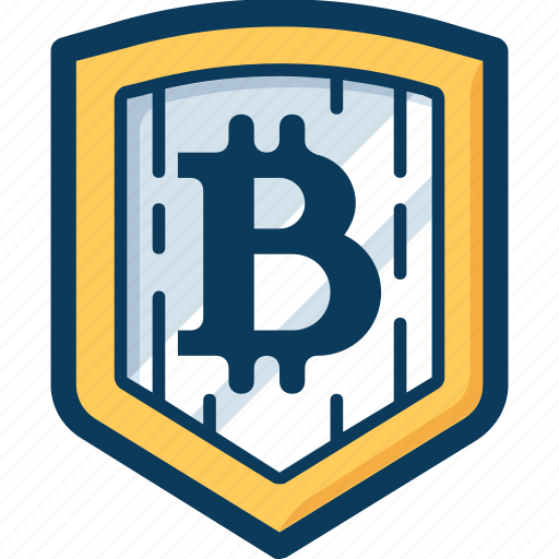 bitcoin, blockchain, cryptocurrency, currency, protection, safety, shield icon