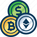 bitcoin, coin, cryptocurrency, dollar, etchyrium, exchange, trade icon