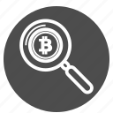 bitcoin, bitcoins, detail, search, zoom icon