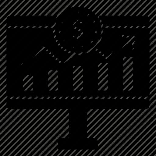 display, dollar, graph, growth, monitor icon