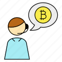 bitcoin, cryptocurrency, customer service, service icon