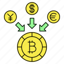 bitcoin, blockchain, buy, crypto, cryptocurrency, currency, digital currency icon