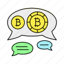 bitcoin, comment, forum, message icon