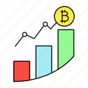 analytics, bitcoin, chart, cryptocurrency icon