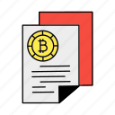 bitcoin, blockchain, crypto, cryptocurrency, digital currency, document, paper icon