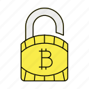 bitcoin, lock, password, security icon
