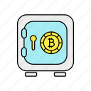 bitcoin, blockchain, digital currency, vault icon