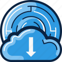 bitcoin, cloud, download, storage icon