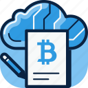 bitcoin, cloud, contract, store icon