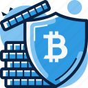 bitcoin, reliable, serure, shield icon