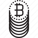 bitcoins, coins, cryptocurrency, digital, dot, money icon