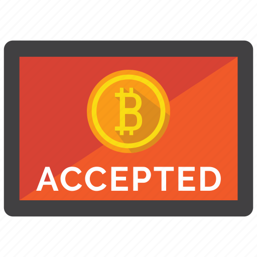 accepted, bitcoin, crypto, cryptocurrency, currency, digital money, payment icon