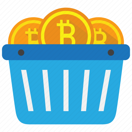 bitcoin, cart, coin, cryptocurrency, shopping, trading icon