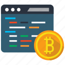 bitcoin, blockchain, code, coding, coin, cryptocurrency, programming icon