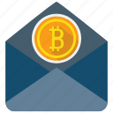 bitcoin, coin, cryptocurrency, letter, mail, message icon
