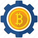 bitcoin, coin, crypto, cryptocurrency, currency, gear, operation icon