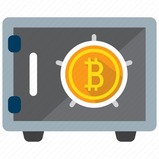 bitcoin, crypto, currency, digital money, safe, strongbox, vault icon