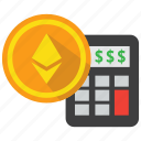 calculator, coin, cryptocurrency, ethereum, investment, profit icon