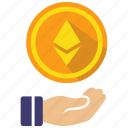 coin, cryptocurrency, currency, digital money, ethereum, gift icon