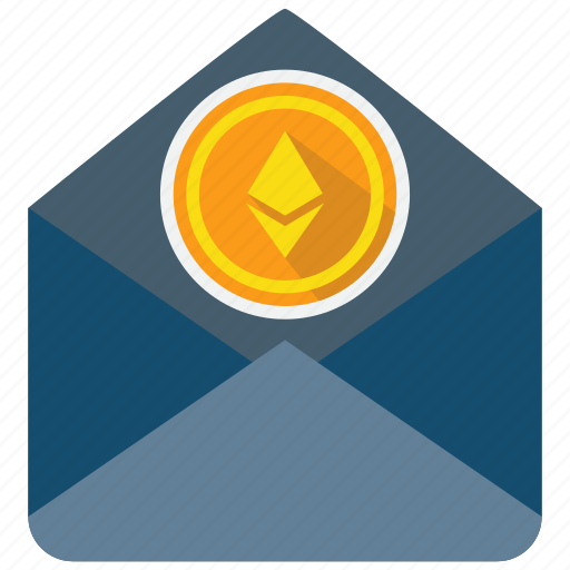 coin, cryptocurrency, ethereum, letter, mail, send icon
