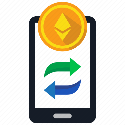 coin, cryptocurrency, digital money, ethereum, mobile, trade, trading icon