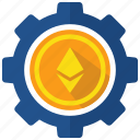 coin, crypto, cryptocurrency, digital money, ethereum, gear, operation icon