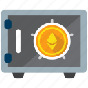 coin, crypto, digital money, ethereum, safe, strongbox, vault icon