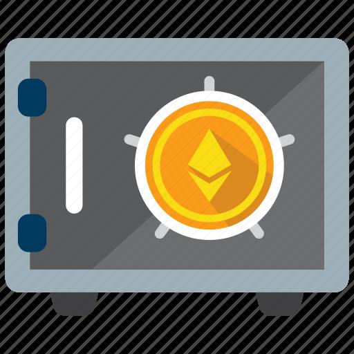 coin, crypto, digital money, ethereum, safe, strongbox, vault icon