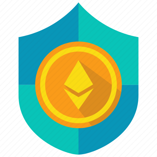 coin, cryptocurrency, ethereum, protection, secure, shield icon