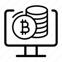 bitcoin, coins, computer, cryptocurrency, trading icon
