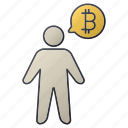 bitcoin, business, men, person, report, seo, statistics icon