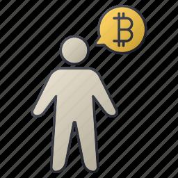 bitcoin, business, men, person, report, seo, statistics icon
