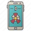 bitcoin, business, chart, diagram, seo, smartphone, statistics icon