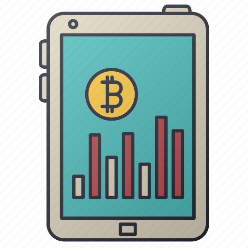 bitcoin, business, chart, graph, seo, statistics, tablet icon