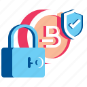 bitcoin, blockchain, coin, cryptocurrency, lock, shield icon