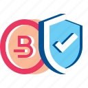 bitcoin, coin, cryptocurrency, protection, secure, shield icon