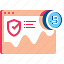 analytics, bitcoin, browser, finance, shield, web icon
