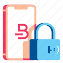 bitcoin, cryptocurrency, device, lock, mobile, security, smartphone icon
