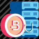 bitcoin, coin, database, mining, money, server icon