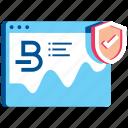 analytics, bitcoin, browser, internet, shield, statistics, web icon