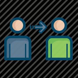 exchange, handover, money, network, person, transfer icon