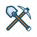 axe, bitcoin, block, chain, miner, mining, tool icon