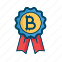 award, badge, best, bitcoin, certified, investment, money icon